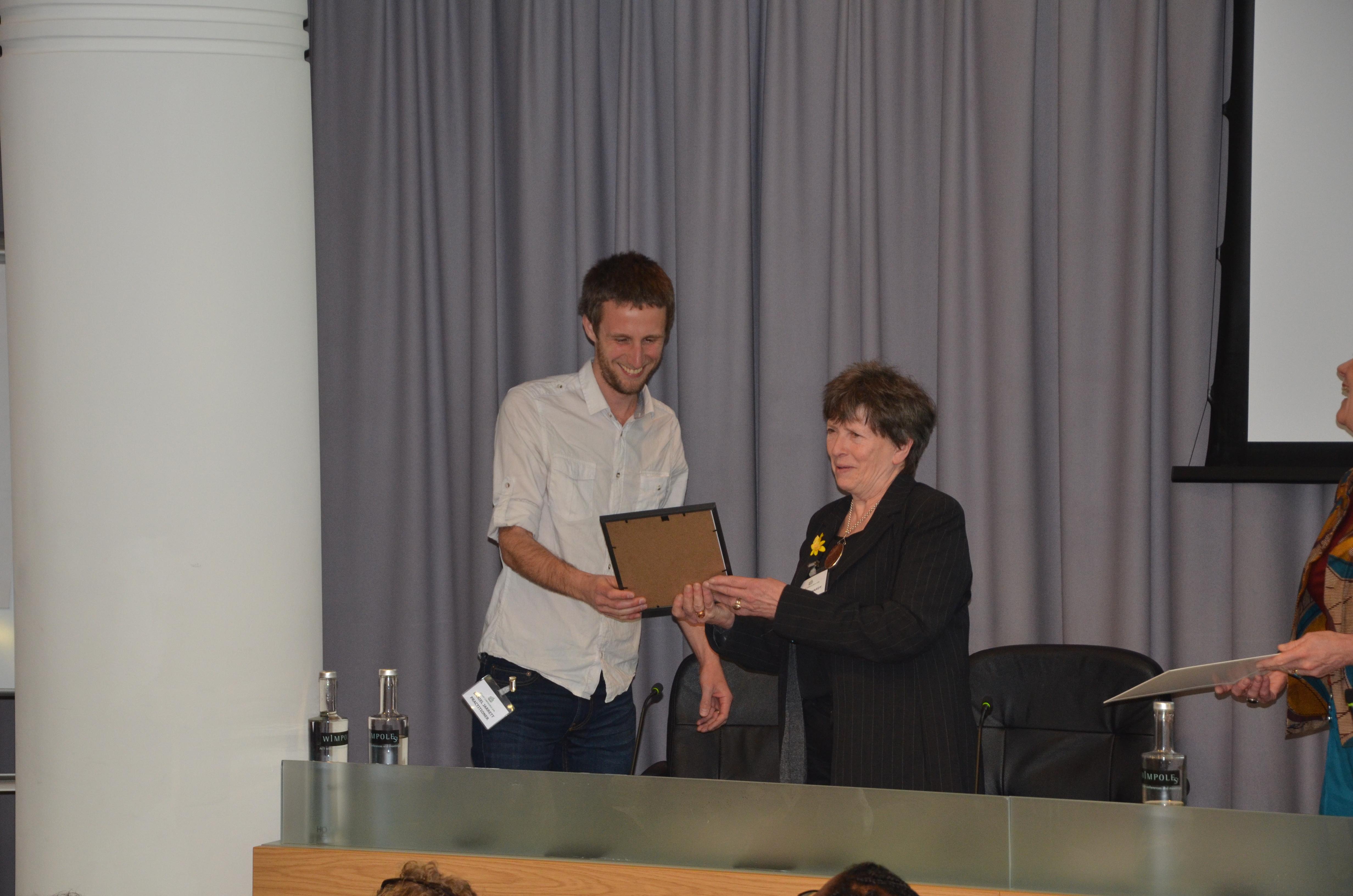 Daniel Jarrett and Anne McHardy with the award