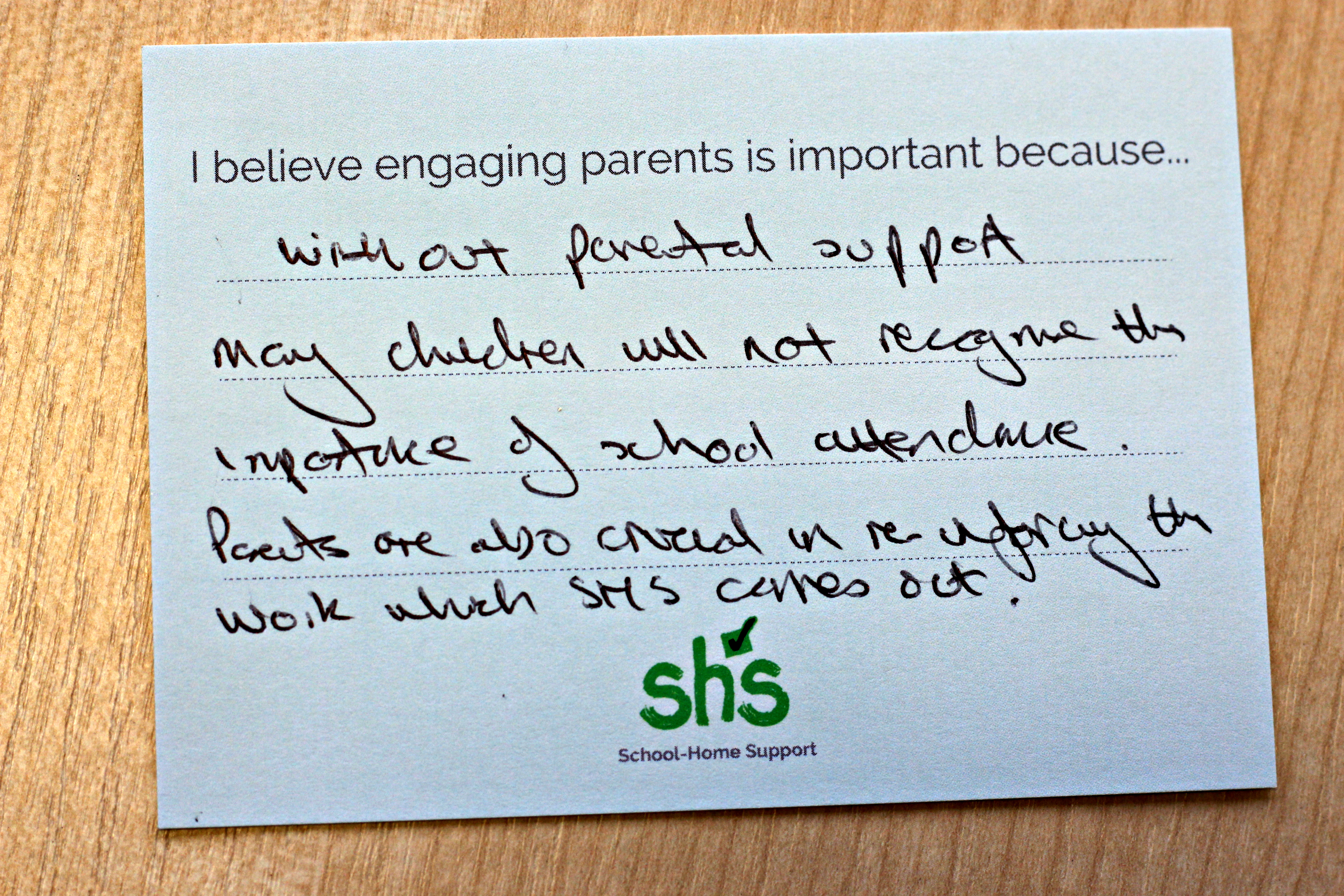 A card from the Engaging Parents engagement board