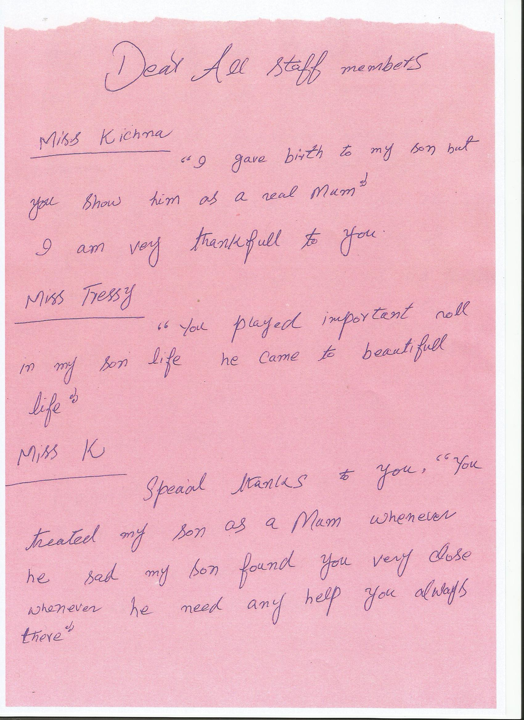 A letter from Omar's Mum