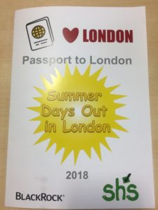 Front cover of the 'Passport to London' guidebook, created by SHS volunteers from BlackRock