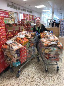 Jaime McDonald, SHS Practitioner, delivering food for vulnerable families at Christmas